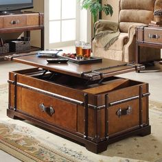 I want to own a coffee table that lifts up into a table, and is disguised as a steamer trunk - Steamer Trunk Coffee Lift Top Table