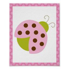 Mod Pink Ladybug Nursery Wall Art Print
