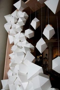 white paper facets, a photo backdrop by Matthew Parker Events for Design*Sponge book party by cara