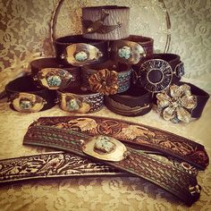 Leather cuffs.  Vintage leather and findings. The Zen Cowgirl #leather #handmade #oneofakind #zencowgirl #boho
