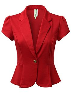 DRESSIS Women's Solid/Polka Short Sleeve Buttoned Blazer Jacket Colors) ** You can get additional details at the image link. Jacket Buttons, Blazer Buttons, Blazer And Shorts, Blazer Jacket, Dressy Jackets, Corporate Wear, African Fashion Dresses, Work Wear, Jackets For Women
