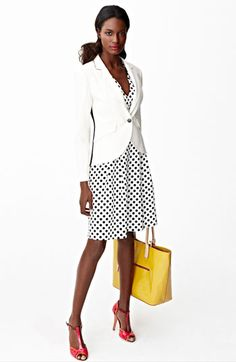 White Blazer+ Neutral Dot Dress.  A great way to embrace a summer work or presentation look is by wearing a white blazer. The crisp, clean jacket can be paired with a variety of pieces, but a neutral print will keep this look authoritative. Add a pop of color in your shoes or accessories for some fun!