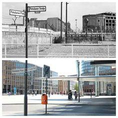Potsdamer Platz, Berlin - then & now West Berlin, Berlin Wall, East Germany, Berlin Germany, History Of Germany, Potsdamer Platz, Berlin Photos, High Castle, History Of Photography