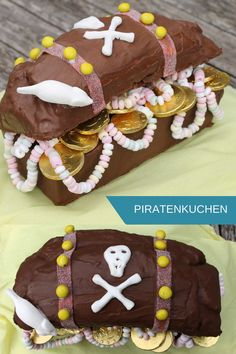 Pirate Cake: Treasure Chest Cake is ideal for a pirate party. The treasure chest cake is baked quickly. The basis of the pirate cake recipe is a box-shaped cake, which is decorated accordingly. Pirate Party Decorations, Birthday Decorations, Treasure Chest Cake, Summer Decoration, Coconut Macaroons, Pirate Birthday, Yellow Cake Mixes, Food Cakes, Kids Meals
