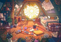 """chromaddy on Twitter: """"my first thought was this artist… """" Pretty Art, Cute Art, Fantasy Landscape, Fantasy Art, Isometric Art, Japon Illustration, Witch Art, House Drawing, Scenery Wallpaper"""