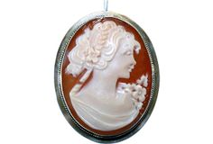 Sterling  & Italian Shell Cameo Pendant