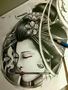 Japanese Tattoo Art, Japanese Tattoo Designs, Japan Tattoo Design, Family Tattoo Designs, God Tattoos, Geisha Art, Asian Tattoos, Oriental Tattoo, Yakuza Tattoo