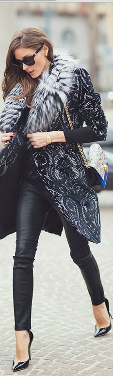 #street #fashion Olivia Palermo winter fur coat @wachabuy