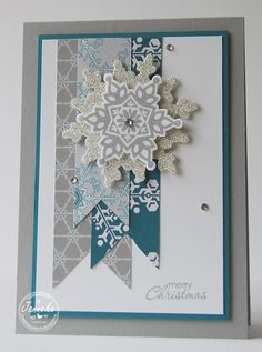 Christmas Card, Snowflakes - All essential products for this project can be found on Crafting.co.uk - for all your crafting needs. - Winter Frost & Festive Flurry featured in SU 2013 holiday mini catalogue.