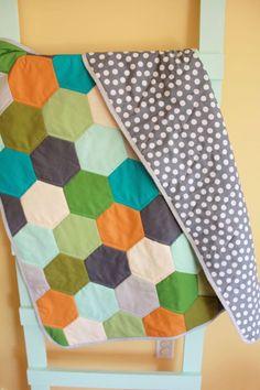 Modern Baby QUILT blanket by PETUNIAS - geometric hexagon blanket nursery decor vintage newborn shower gift room crib bedding.