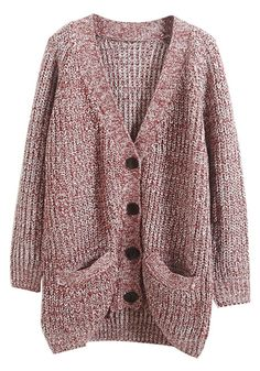 Red & White Marled Cardigan- With Pockets at Sides