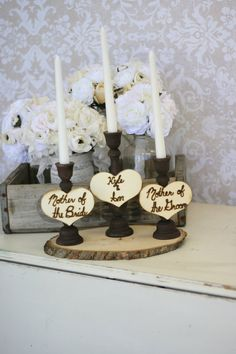 Wedding Unity Candle Set For Mothers Rustic Chic by braggingbags, $59.99