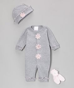 Another great find on #zulily! Gray & Pink Sparkle Blossom Playsuit Set - Infant by Too Sweet #zulilyfinds