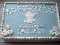 Image result for baptism sheet cake with birds Baptism Sheet Cake, Baptism Cakes, Sheet Cakes Decorated, Christening Cookies, Cake Quotes, Sugar Frosting, Baby Boy Cakes, Baby Dedication, Classic Cake