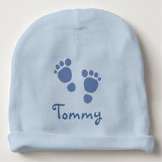 Personalized Baby Beanie!  http://www.zazzle.com/blue_footprints_infant_hat-256500336279237643?social=true&view=113196686500173880