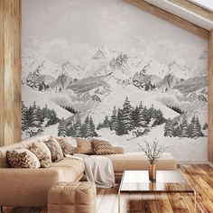 wallpaper over paneling Chalet Chic, Chalet Style, Chalet Design, Chalet Interior, Interior Design, Ski Lodge Decor, Mountain Cabin Decor, Mountain View, Home Wallpaper