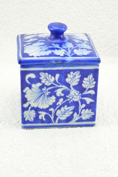White Floral Hand Painted Utility Box #indigo #blue #kitchenware #box #utility #bluepottery #wowtrendy