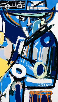 """Blue Guitar"" x Oil and Acrylic on Canvas by America Martin. Guitar Art, Blue Guitar, Vernon, Neutral Paint Colors, Portraits, Art Academy, Blue Art, American Artists, Abstract Expressionism"