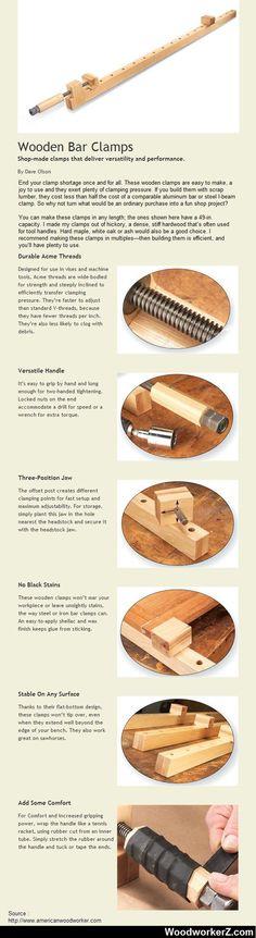 Barra de madera abrazaderas. Tienda-hecho abrazaderas que ofrecen versatilidad y rendimiento.