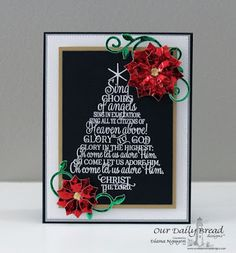 ODBDSLC257  Our Daily Bread Designs Stamp set: Sing Choirs of Angels, Our Daily Bread Designs Custom Dies: Flourished Star Pattern, Peaceful Poinsettia, Fancy Foliage