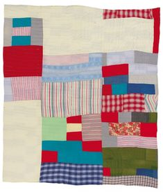 """EBP - Two-sided quilt: Blocks and """"One Patch""""—stacked squares and rectangles variation - Master Image image 1 Antique Quilts, Vintage Quilts, Quilting Projects, Quilting Designs, Quilt Design, Gees Bend Quilts, Modern Quilt Blocks, African Quilts, Keepsake Quilting"""