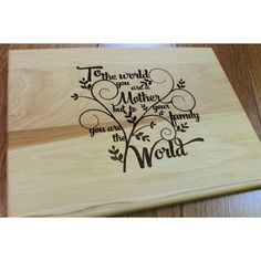 Mother's Day Cutting Board Lasered Engraved Mom Birthday Gift Mom Gift... ($30) ❤ liked on Polyvore featuring home, kitchen & dining, kitchen gadgets & tools, cookware, cutting boards, grey, home & living, engraved cutting board, colored chopping boards and chopping block