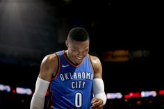 Oklahoma City's Russell Westbrook (0) smiles as he exits the game during an NBA basketball game between the Oklahoma City Thunder and the New York Knicks at Chesapeake Energy Arena in Oklahoma City, Thursday, Oct. 19, 2017. Oklahoma City won 105-84. Photo by Bryan Terry, The Oklahoman