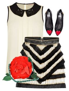 """""""Roses are red.  Hearts are too.  I got black and white stripes made just for you."""" by ms-oodies on Polyvore featuring Darling, Balmain, Love Moschino, Emanuel Ungaro, outfit, blackandwhite and summerstyle"""