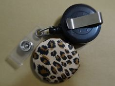 Retractable Badge Holder/Lanyard Fabric Covered Button - Satiny Leopard $4