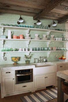 Kitchen Wall Shelving Ideas, Mint Subway Tile Backsplash Kitchen Wall Shelving 205