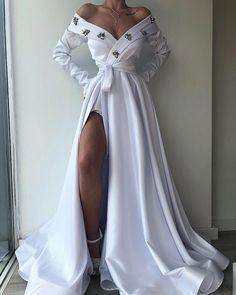 Elegant dresses - White i Off Shoulder Long Prom Dress With Split – Elegant dresses Elegant Dresses, Pretty Dresses, Casual Dresses, Gala Dresses, Corset Dresses, Dance Dresses, Wedding Dresses, Plus Size Kleidung, Mode Inspiration
