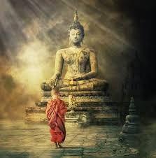 Framed Print - Young Monk Boy Walking up to Buddha (Picture Poster Tibetan Art) Art Buddha, Buddha Kunst, Buddha Canvas, Buddha Wisdom, Buddha Zen, Buddha Painting, Buddha Artwork, Buddha Statues, Angel Statues