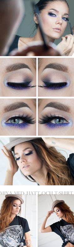 "Today's Look : ""Electric"" -Linda Hallberg (A gorgeous nude eye with an electric POP of violet as liner, glitter in the inner corner and a to-die-for lashes... a nude lip nicely completes the look.) 09/18/13"