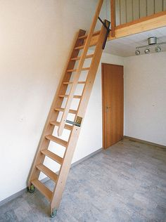 House Ladder, Stair Ladder, House Stairs, Wood Stairs, Attic Spaces, Attic Rooms, Home Stairs Design, House Design, Loft Staircase