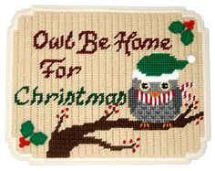 PATTERN: Owl Be Home For Christmas Wall Hanging in Plastic Canvas