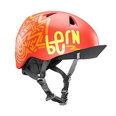 Kids' Bike Helmets - 2016 Nino Summer Matte Orange Graphic w Flip Visor  SM ** Want to know more, click on the image.