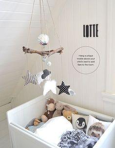 Children's room - Quick fix: Personalized mobile - Via La Petite Magazine Baby Bedroom, Baby Boy Rooms, Nursery Room, Kids Bedroom, Nursery Decor, Room Baby, Kids Rooms, Baby Decor, Kids Decor