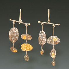 Earrings | Mara Friedland.  Sterling silver hand punched, fabricated and Keumboo gold.
