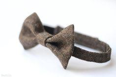 Brown tweed bow tie Boy wedding bowtie Mens brown bow tie by Nastiin