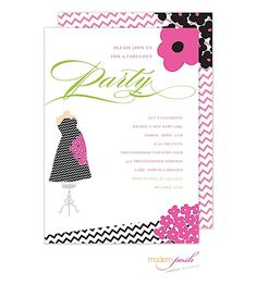 Baby Shower Invitation; Couture Chevron with Baby Bump in modern pink, black with daises and chevron stripes for moms having a baby girl from Little Angel Announcements