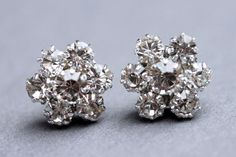 Rhinestone Bridal Stud Earrings Crystal Flower Stud by madebymoe