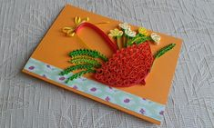 Quilling birthday card Greeting card Umbrella art Quilled