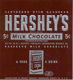 Hershey's 5 Cents, until sugar price jumped & went to 25 cents overnight around never went back down Chocolate Hershey, Hershey Candy, I Love Chocolate, Chocolate Heaven, Vintage Advertisements, Vintage Ads, Vintage Signs, Antique Signs, 1950s Candy