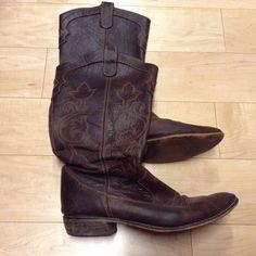 Zara leather brown cowboy boots Zara leather brown cowboy boots. Size EU39/US8 Zara Shoes
