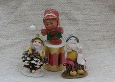 Pine Cone Santa Elf Figures and Drummer Boy Lot by MendozamVintage