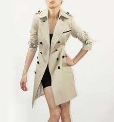 Image of Beige trench coat with black leather-Style 5