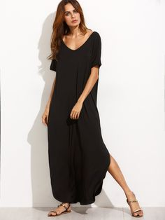 Shop Black V Neck Cut Out Back Long Dress online. SheIn offers Black V Neck Cut Out Back Long Dress & more to fit your fashionable needs.