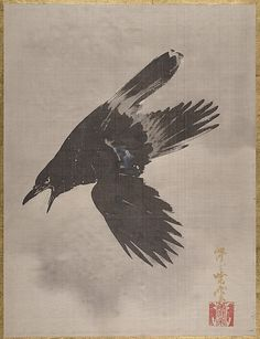 Crow Flying in the Snow - Kawanabe Kyōsai (1831-1889)