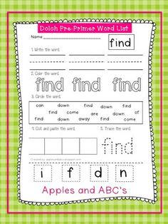 Dolch Pre-Primer Sight Word Printables