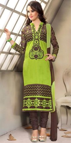 Graceful Green And Brown Cotton Straight Salwar Suit With Chiffon Dupatta.